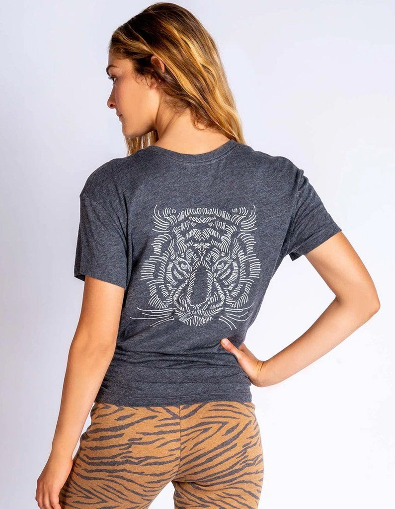 PJ Salvage Wild One Tiger Embroidery Short Sleeve Tee - Heather Charcoal - Styleartist