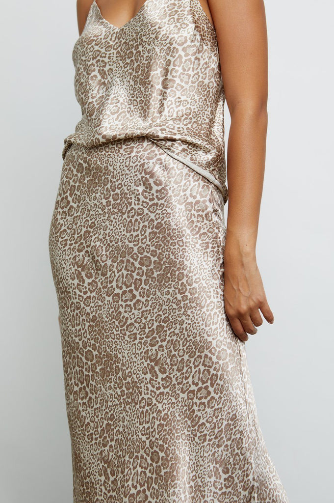 Rails Anya Luxe Satin Midi Skirt- Tan Cheetah - Styleartist