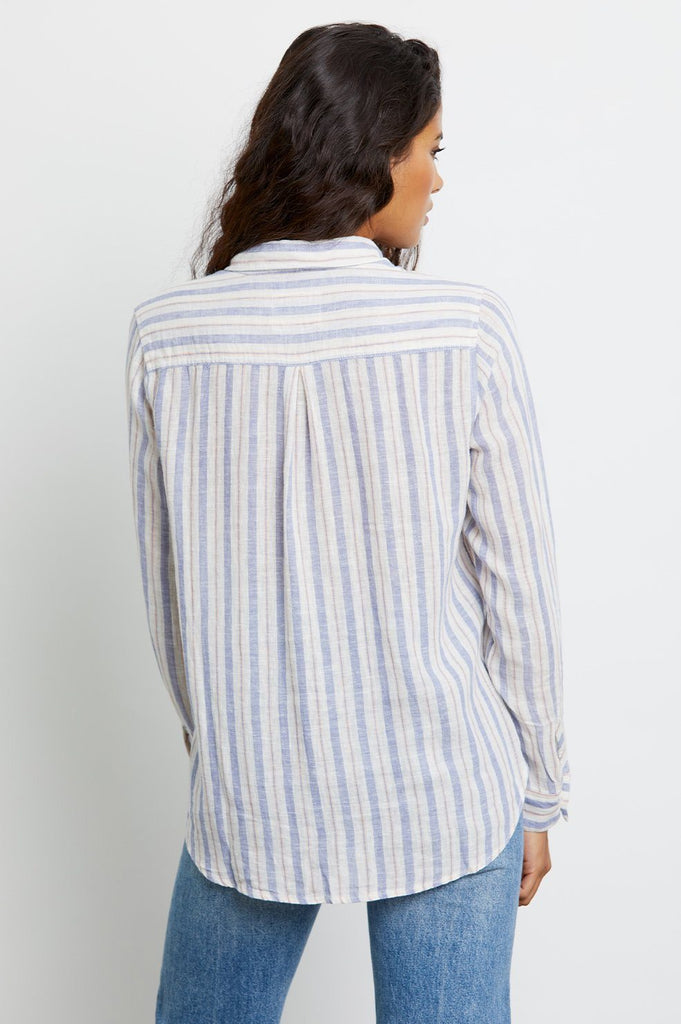 Rails Charli Long Sleeve Linen Button Down Shirt- Bacara Stripe - Styleartist