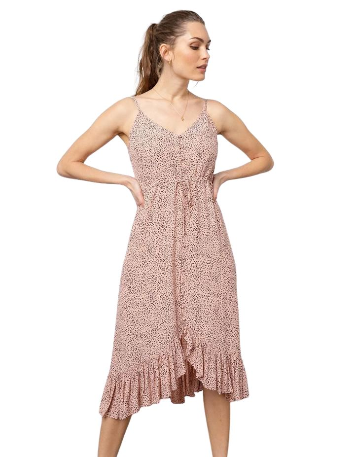 Rails Frida Mid Length Dress - Rose Spotted - Styleartist