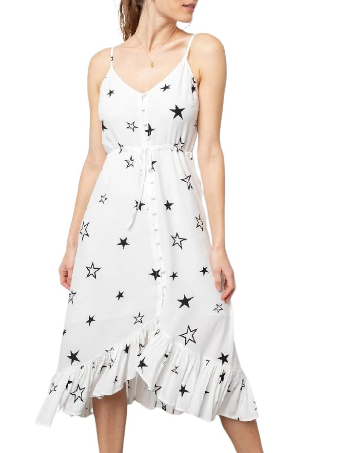 Rails Frida Stellar Mid Length Dress - White with Star Print - Styleartist