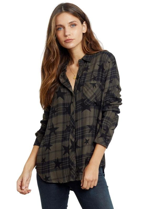 Rails Hunter Olive Jet Stars Plaid Button-Down Blouse - Green/Black - Styleartist