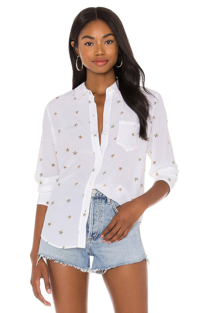 Rails Kate Silk Blouse - Ivory Animal Stars - Styleartist