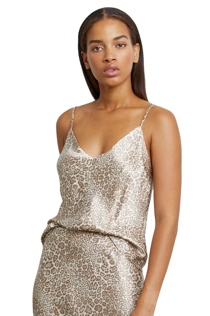 Rails Paola Luxe Satin Tank Camisole- Tan Cheetah - Styleartist