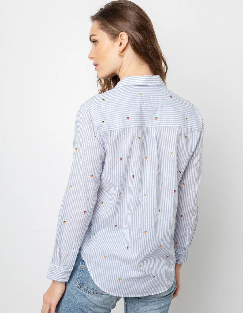 Rails Taylor Embroidered Citrus Pin Stripe Shirt  - Blue & White - Styleartist