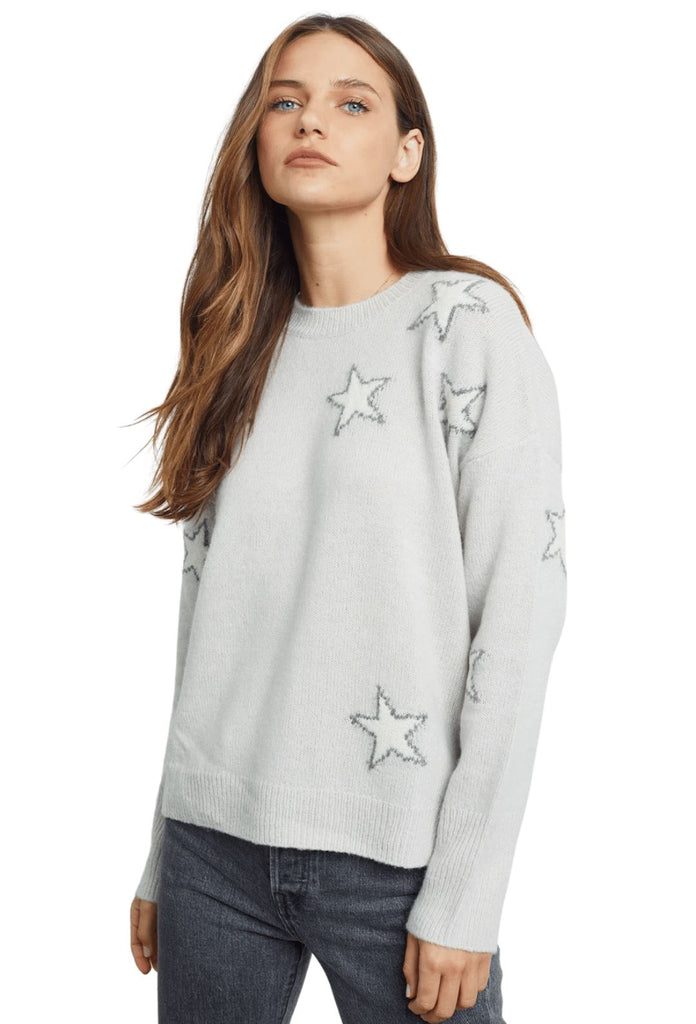 Rails Virgo Cashmere Wool Blend Sweater - Grey White Stars - Styleartist