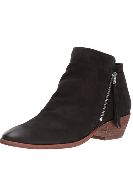 Sam Edelman Packer Bootie With Zipper - Black Nubuck Leather - Styleartist