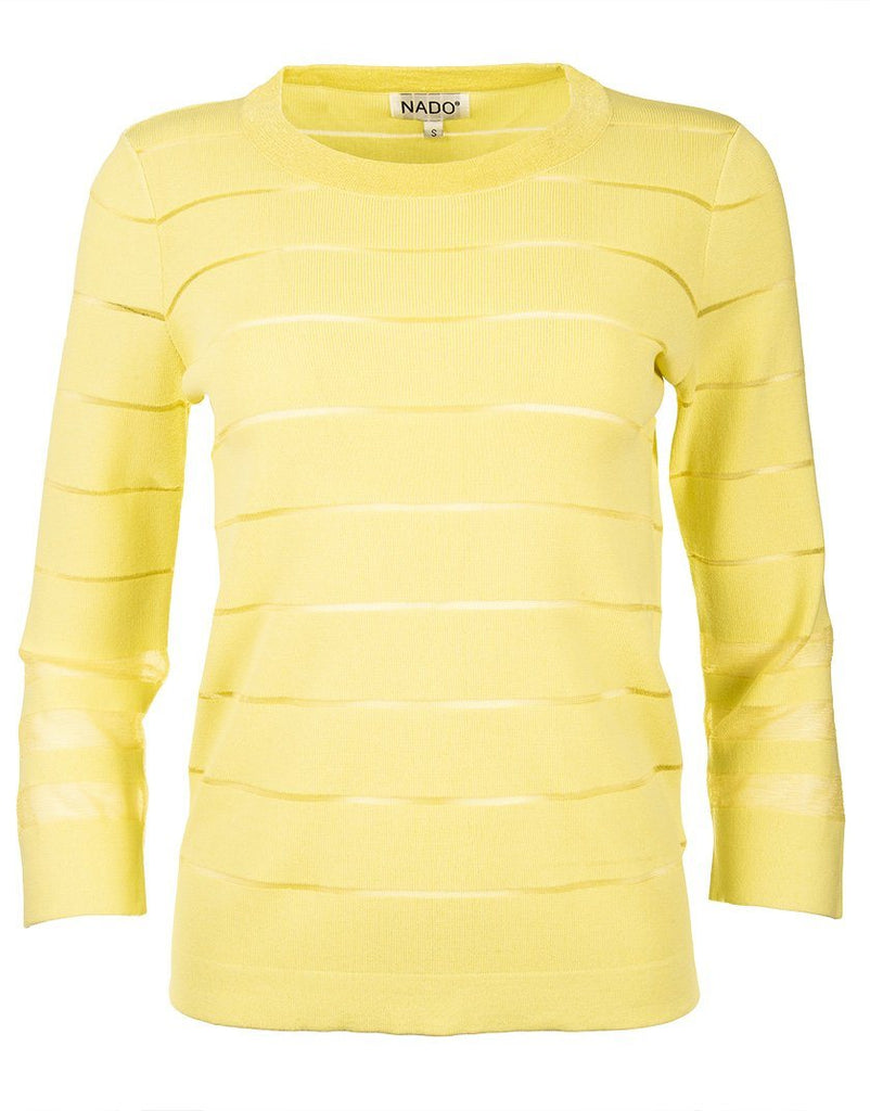 Shadow Stripe Knitted Crew Neck Pullover - Yellow - Styleartist