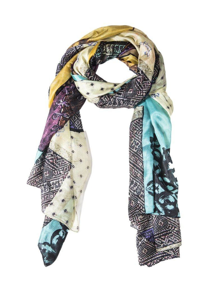 Silk Printed Oblong Scarf- Yellow/Green - Styleartist