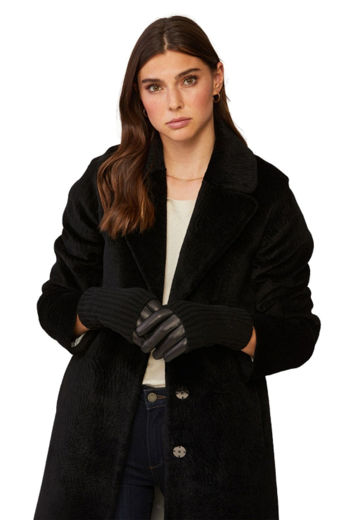Soia & Kyo Carmel Leather Gloves with Knit Lining - Black - Styleartist