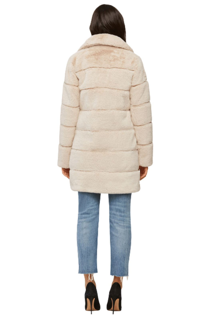 Soia & Kyo JOAN Above-Knee-Length Faux Fur Coat with Notch Collar - Sandstone - Styleartist