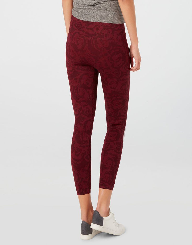 Spanx Cropped Seamless Leggings in Garnet Rose Print - Styleartist