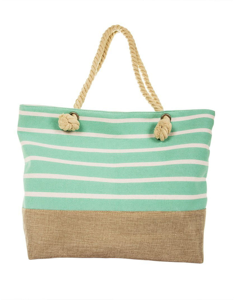 Striped Canvas Beach Bag with Rope Handle - Mint - Styleartist