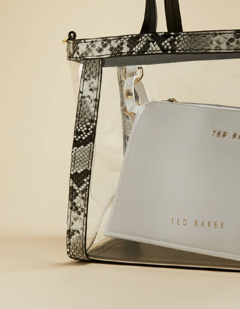 Ted Baker Meeta Transparent Tote with Snake Trim - Black - Styleartist