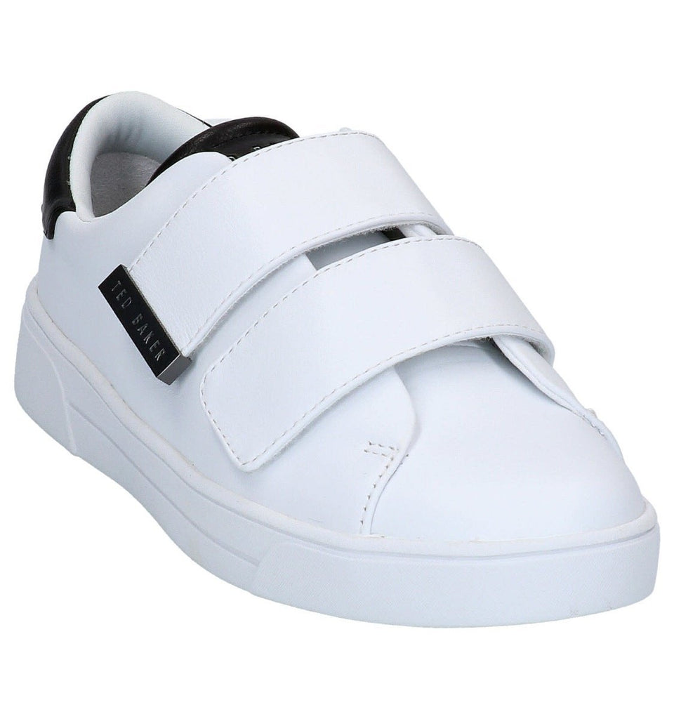 Ted Baker Venil Double Velcro Sneaker- White with Black Tipping - Styleartist