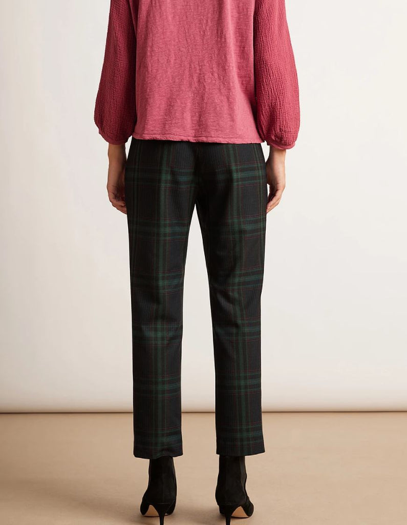 Velvet Jackie Stretch Plaid Straight Leg Pant - Green Plaid - Styleartist