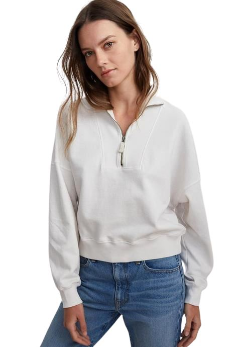 Velvet Nilly Vintage Fleece Zip Up Top - Beach - Styleartist