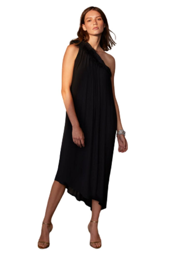 Velvet Portia Crinkle Viscose Lace Dress - Black - Styleartist