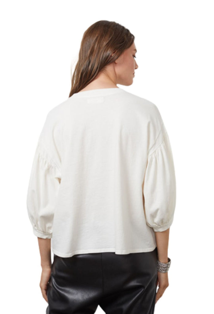Velvet Prudy Sueded Jersey 3/4 Sleeve Top - Coconut - Styleartist