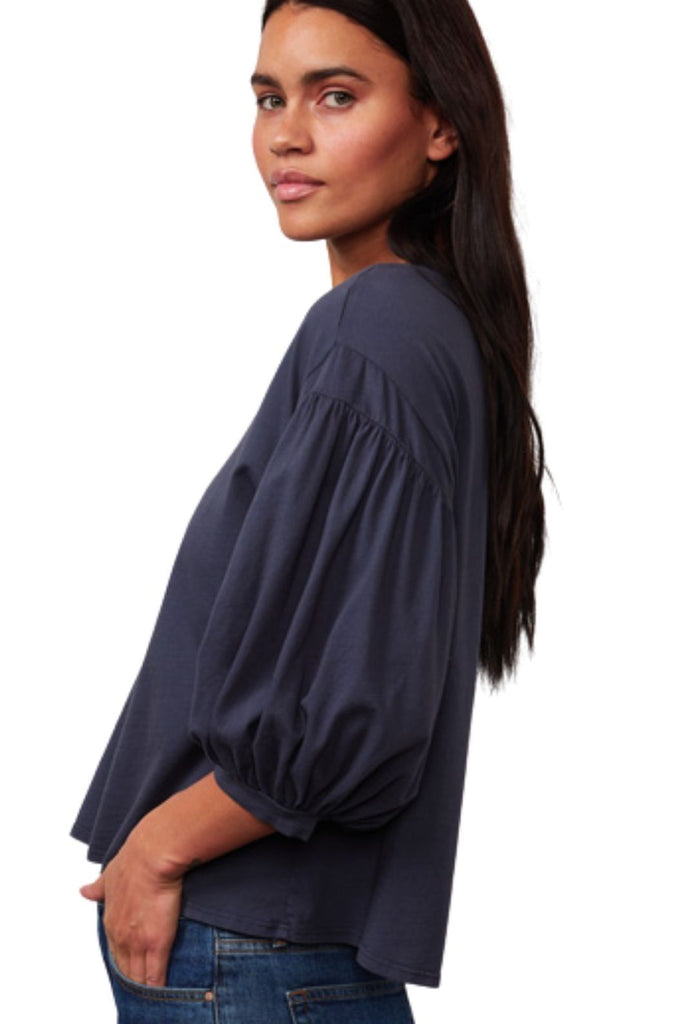 Velvet Prudy Sueded Jersey 3/4 Sleeve Top - Granita - Styleartist