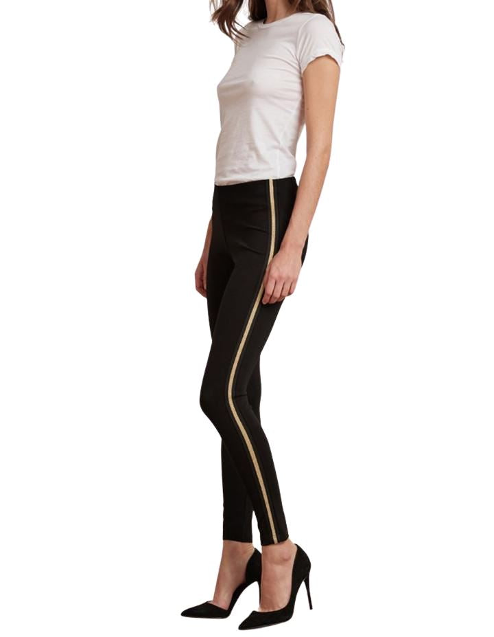 Velvet Raquel Ponti Legging Pant With Gold Side Stripe- Black - Styleartist