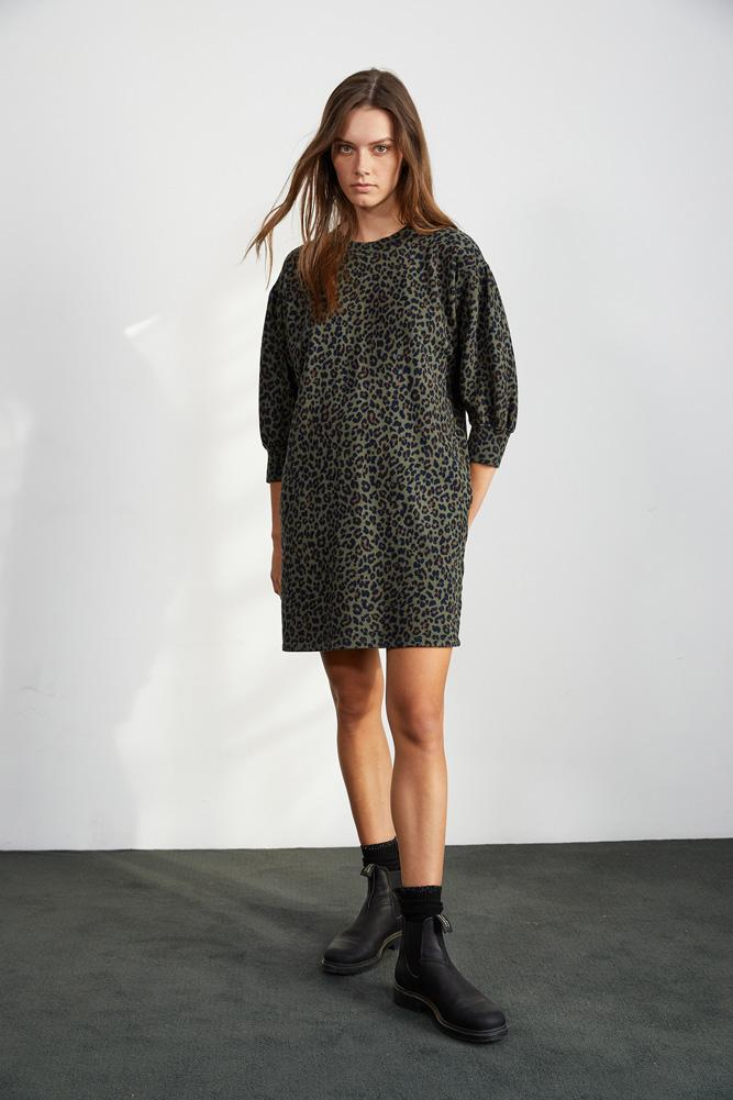 Velvet Rika Leopard Fleece Dress - Olive - Styleartist