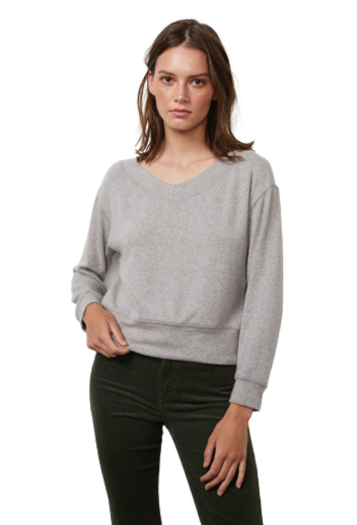 Velvet Sloe Cozy Lux Long Sleeve Wide Neck Top - Grey - Styleartist