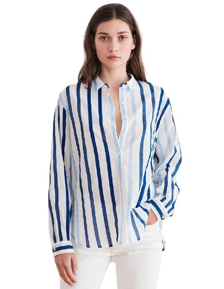 Velvet Talia Ombre Stripe Long Sleeve Blouse - Blue - Styleartist