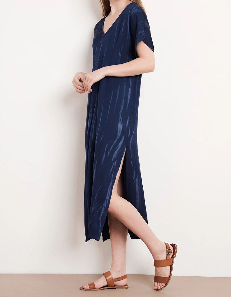 Velvet Valerie Tie Dye Satin Short Sleeve Dress - Navy - Styleartist