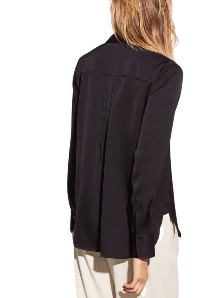 Vince Slim Fitted Stretch Silk Blouse - Black - Styleartist