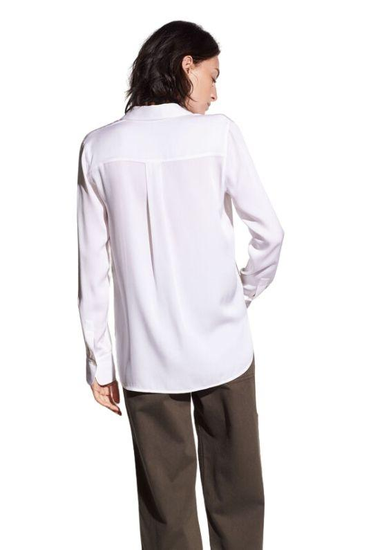 Vince Slim Fitted Stretch Silk Blouse - Optic White - Styleartist