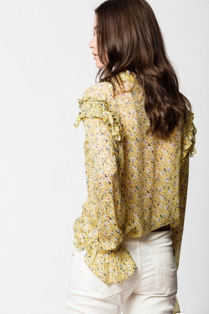 Zadig & Voltaire Tweet Anemone Ruffle Printed Blouse - Yellow - Styleartist