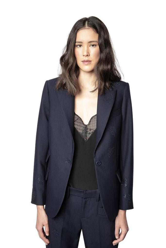 Zadig & Voltaire Venus Strass Leaf Jacket- Encre Navy - Styleartist