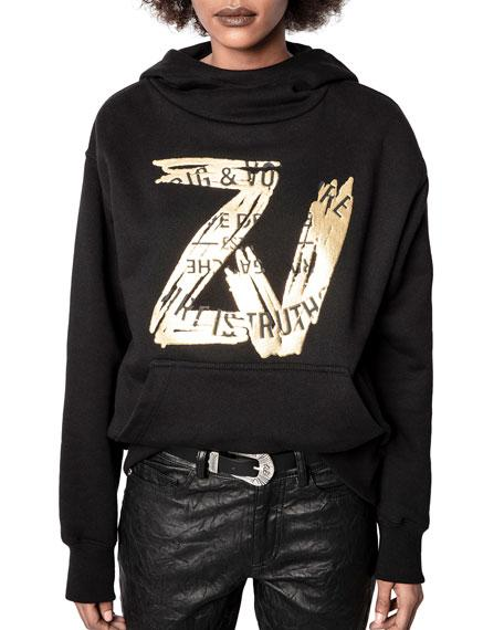 Zadig & Voltaire Wallace ZV Foil-Print Sweatshirt- Black - Styleartist