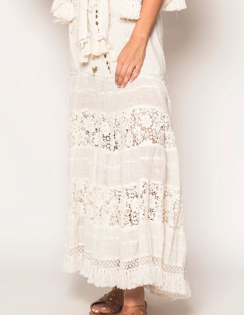 Z&L Night Fever Maxi Skirt - Off White - Styleartist