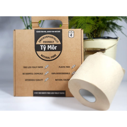 4 Zero Waste Eco Toilet Rolls made from natural plant fibres, no trees & plastic free loo paper - Tŷ Môr by ShearWater Eco Toilet Rolls plastic free zero waste no trees bamboo no chemicals