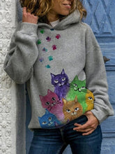 Load image into Gallery viewer, Autumn Winter Cat Print Loose Hooded Printed Sweatshirt