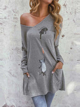 Load image into Gallery viewer, Autumn Winter Cat Print Mid-length Loose Casual Sweatshirt