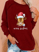Load image into Gallery viewer, Autumn Winter Christmas New Calf Print Loose Sweatshirt