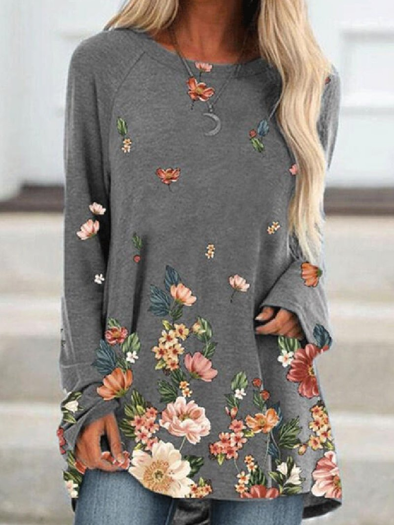 Autumn Fashion Mid-length Loose Print Pullover Sweatshirt