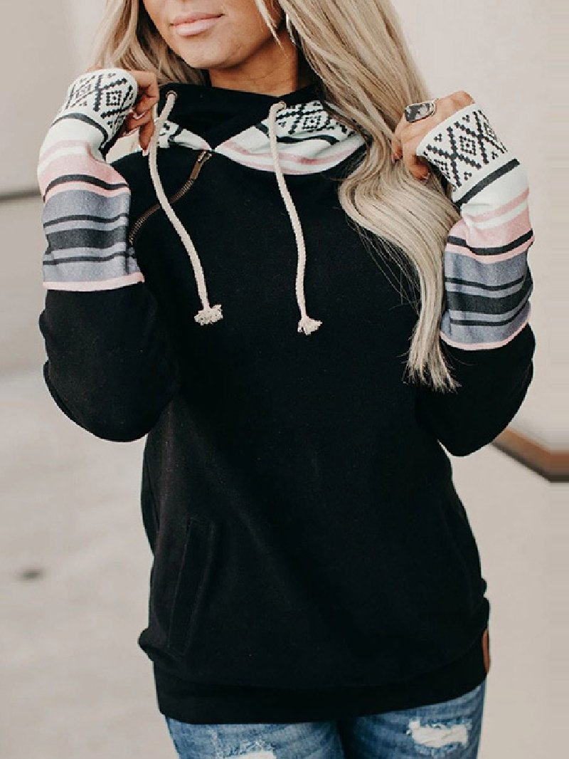 Autumn New Color-blocking Hooded Street Style Pullover Sweatshirt