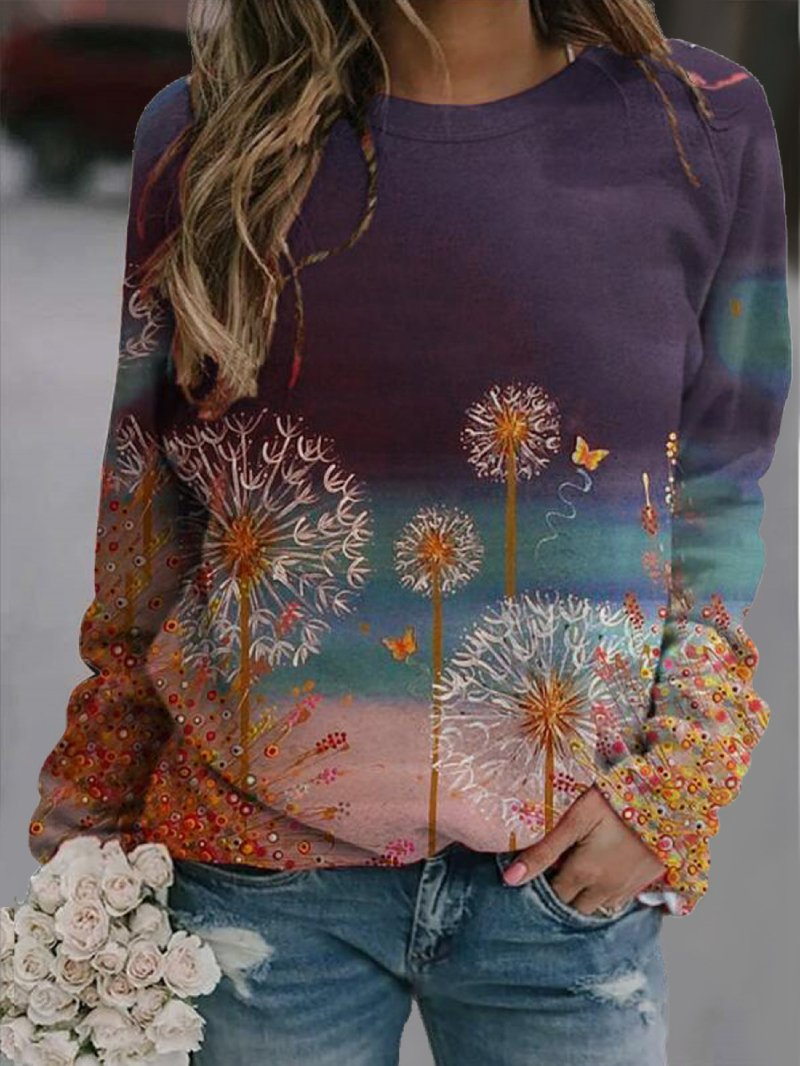 Autumn New Style Dandelion Print Round Neck Long Sleeve T-shirt
