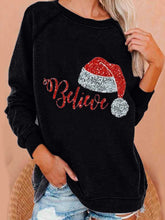 Load image into Gallery viewer, Autumn Winter Christmas Hat Printed Long-sleeved Loose Sweatshirt