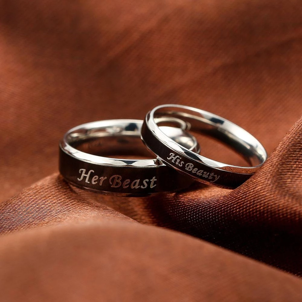 His Beauty and Her Beast Stainless Steel Couples Rings