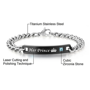 His Princess Her Prince Couples Stainless Steel Bracelets