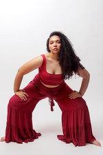 Load image into Gallery viewer, Wine Milos Wide Leg Tiered Pants