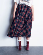 Load image into Gallery viewer, Red Plaid Full Circle Skirt With Smocked Waistband *Limited Quantities Available*