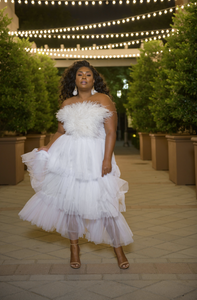 'Corrine' Feather Tulle Dress