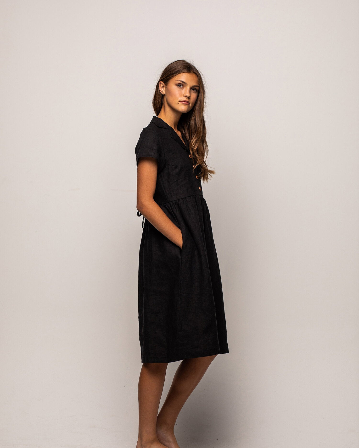 Model No.30 in Black Linen, a v neck, midi dress — Pyne & Smith Clothiers