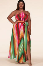 Load image into Gallery viewer, Pink Chevron Striped Twisted Front Cutout Maxi Dress
